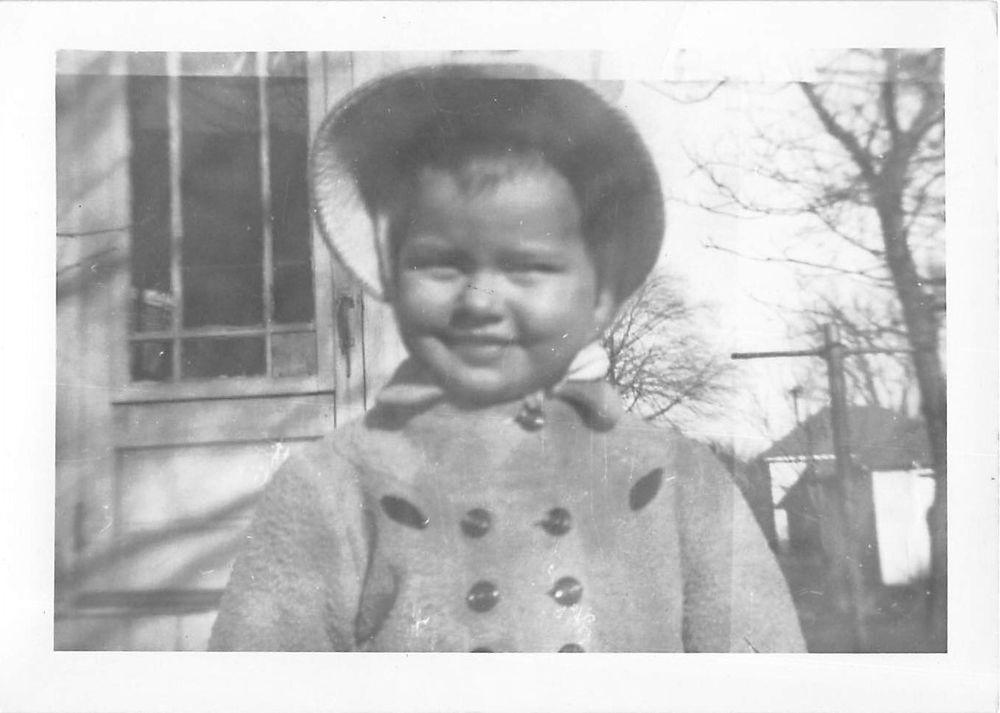 Photograph Snapshot Vintage Black and White: Girl Bonnet Coat Smile 1950's