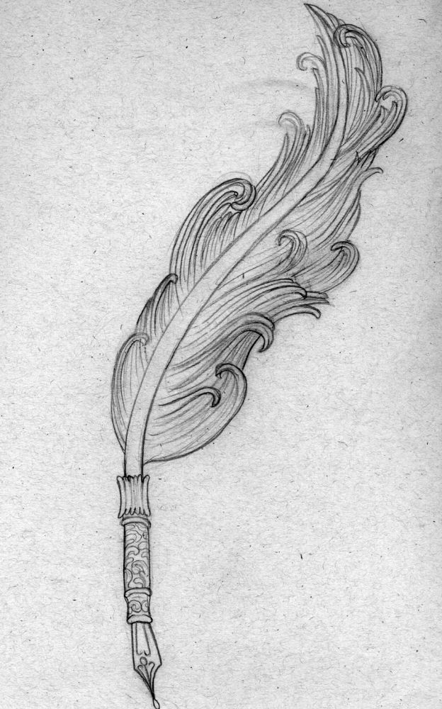 Line Drawing Of Quill : Quill tattoo drawing of a feather pen that i