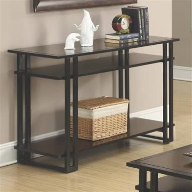 Transitional Black Coffee Wood Sofa Table w/Shelf