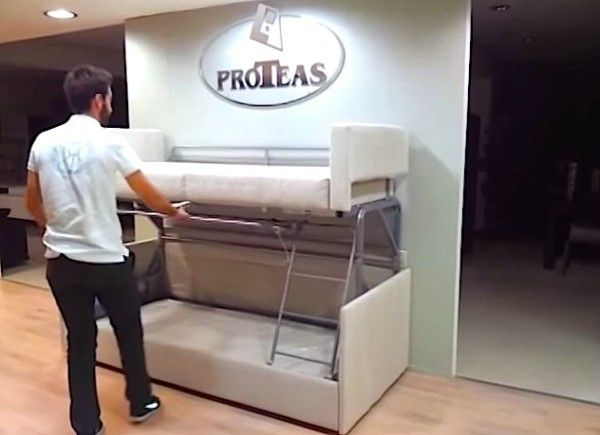 Tiny House Furniture Sofa To Bunk Bed In 14 Seconds Tiny House Furniture Couch Bunk Beds Tiny House Storage