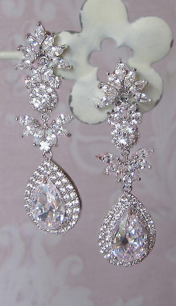 Stunning Crystal Chandelier Earrings Swarovski Rhinestone Bridal Vintage Style Leandra Pageant Accessories Pinterest