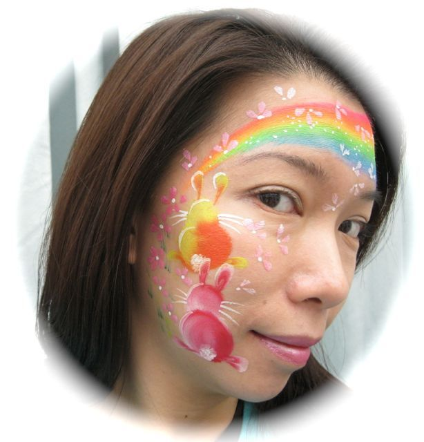 Face Painting IDeas Easter Face and Rainbow face paint
