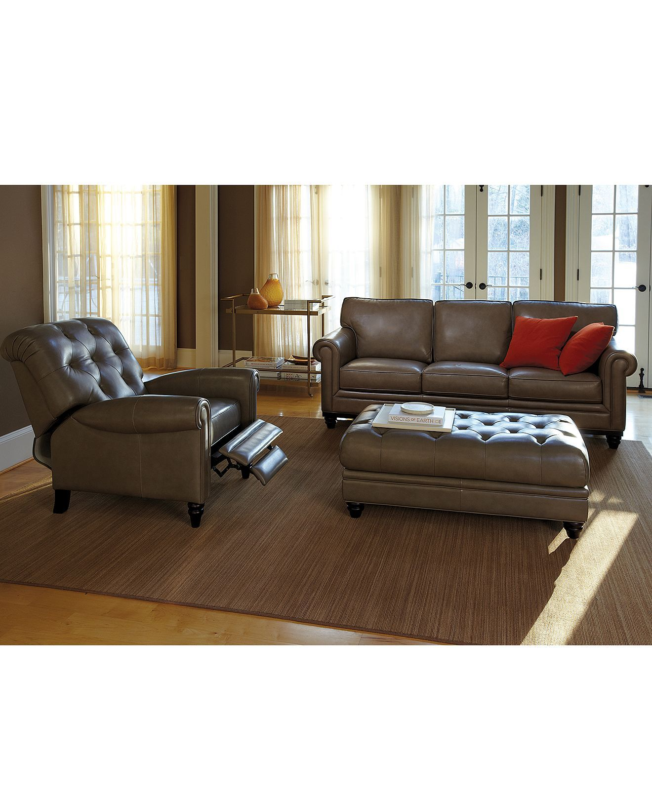 Martha Stewart Bradyn Leather Sofa Living Room Furniture ...