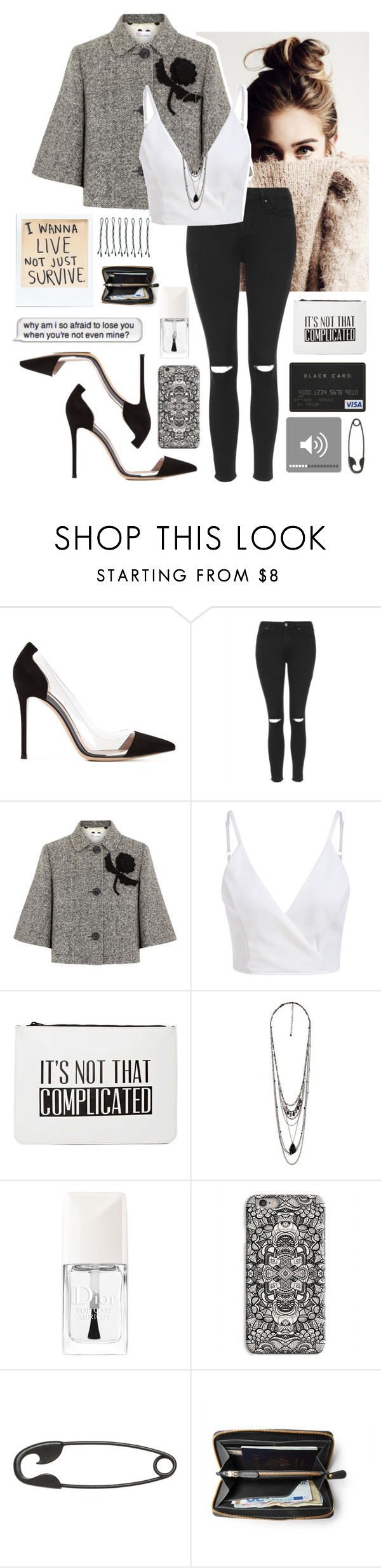 """Sem título #208"" by sophiabotelho ❤ liked on Polyvore featuring Gianvito Rossi, Topshop, RED Valentino, Nila Anthony, Forever 21, Christian Dior, INDIE HAIR, Other and BOBBY"