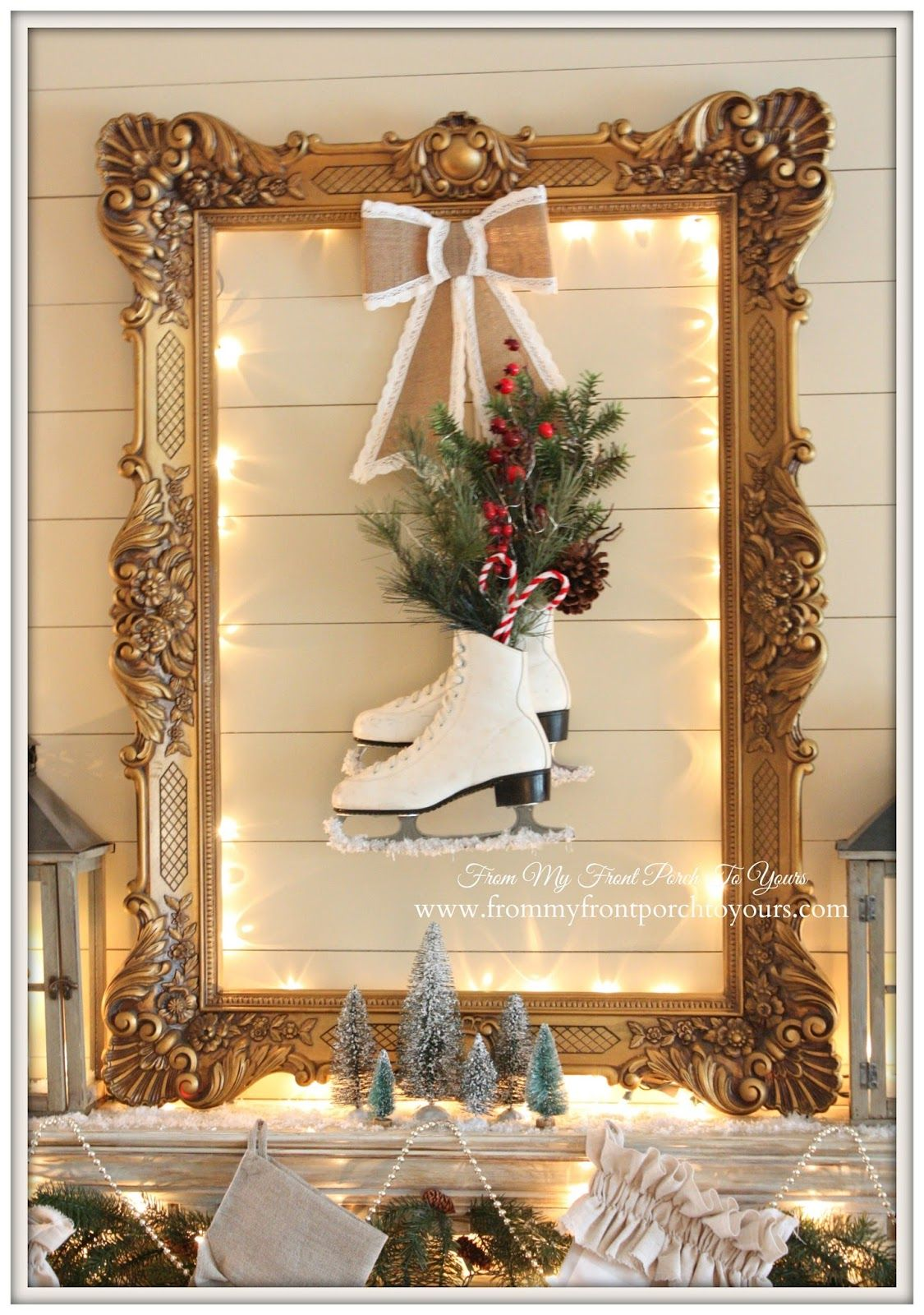 Ice Skates-Christmas Mantel 2014- From My Front Porch To Yours