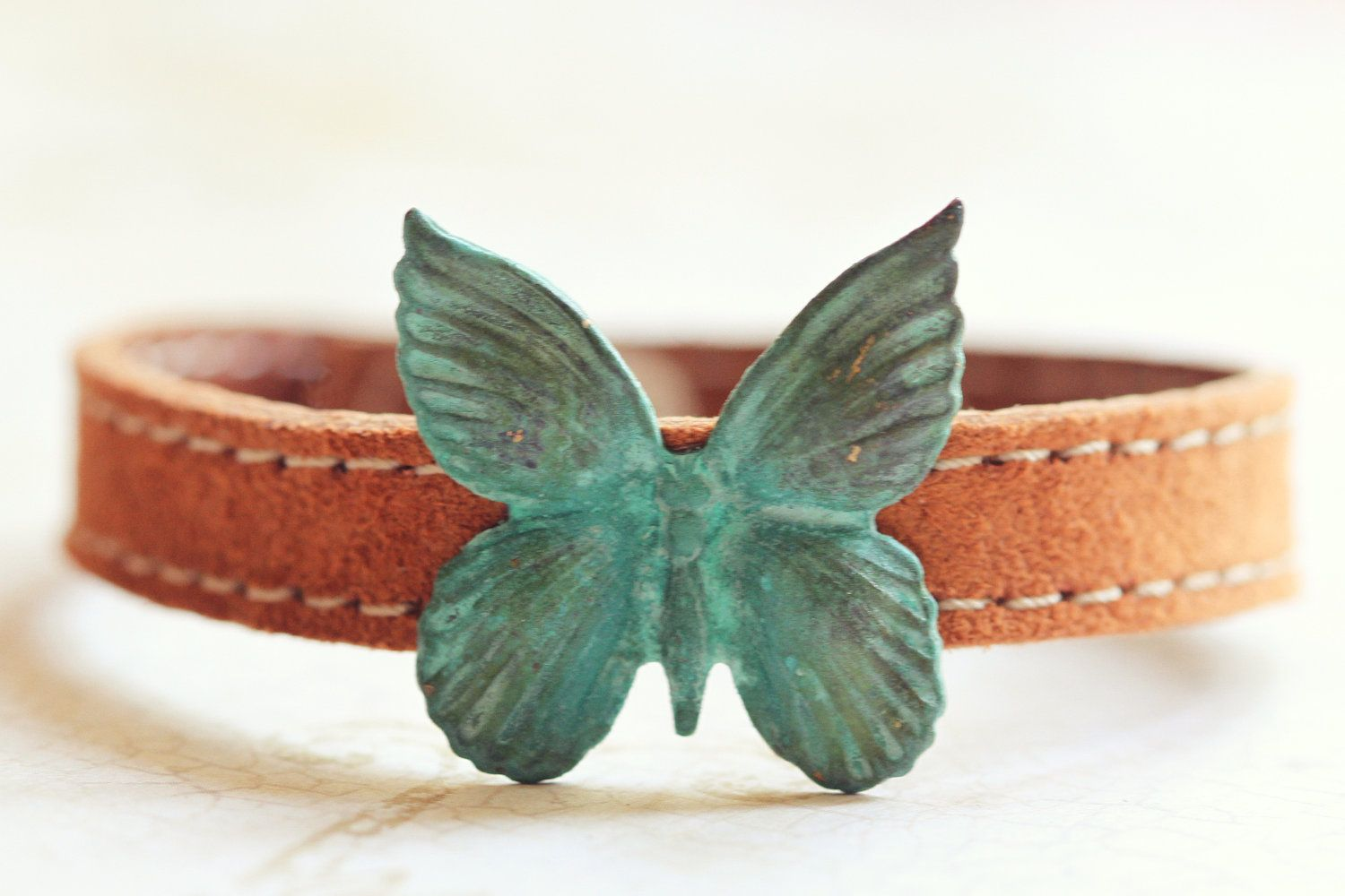GDO Authentic suede patina butterfly bracelet by girlsdayout, $18.00