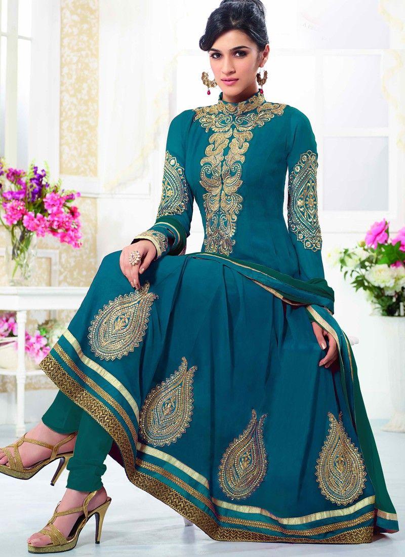 Kirti #Sanon #Teal #Blue #Georgette #Wedding #Wear #Designer ...