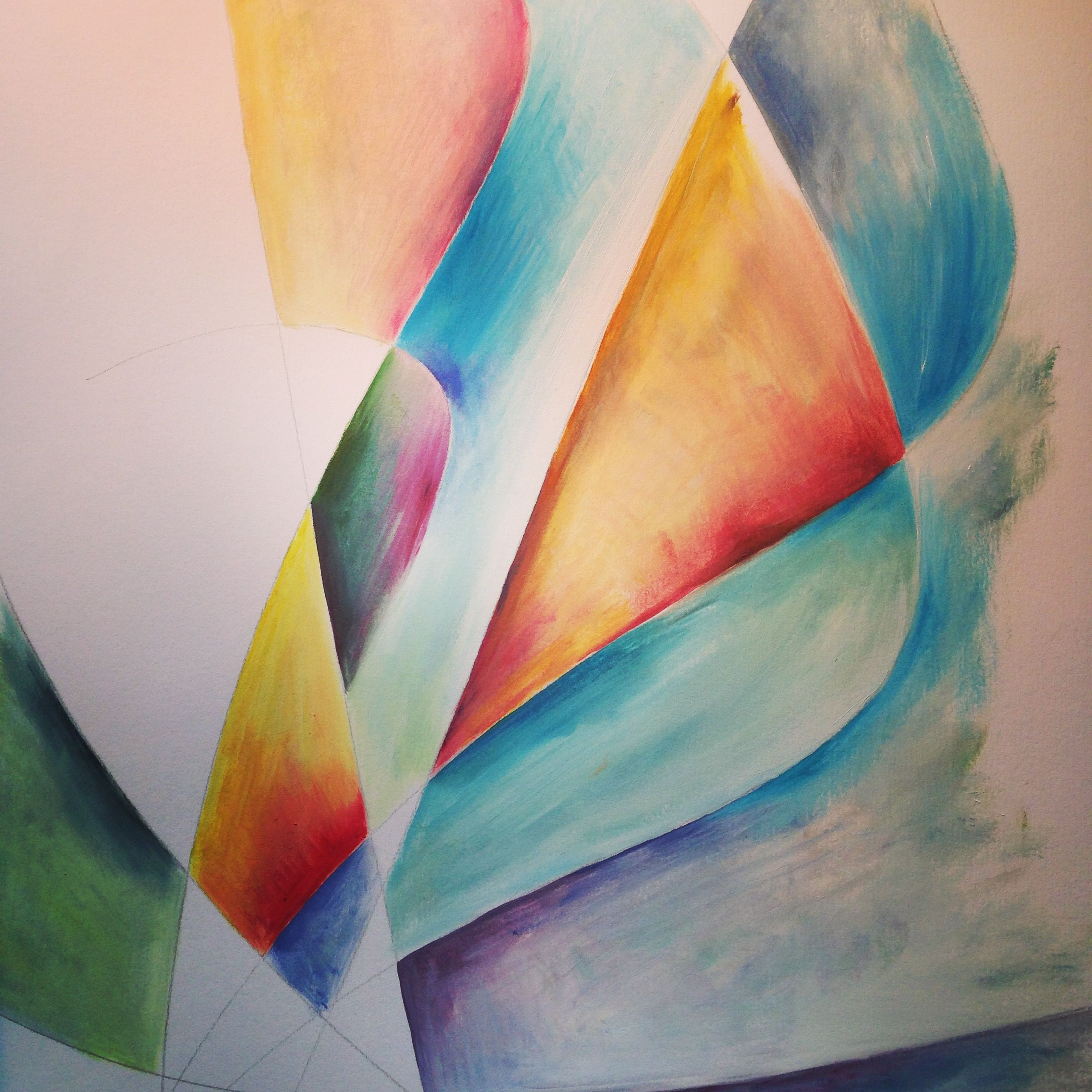 Sails - abstract idea of the movement of the boats - Cate Field - oil paint