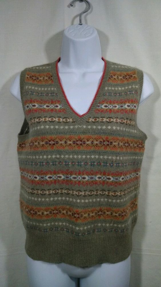 0eeb4fff3 RALPH LAUREN Womens Wool Rabbit Hair Indian Fair Isle Knit Sweater Vest M  Gray  RalphLauren  VNeck