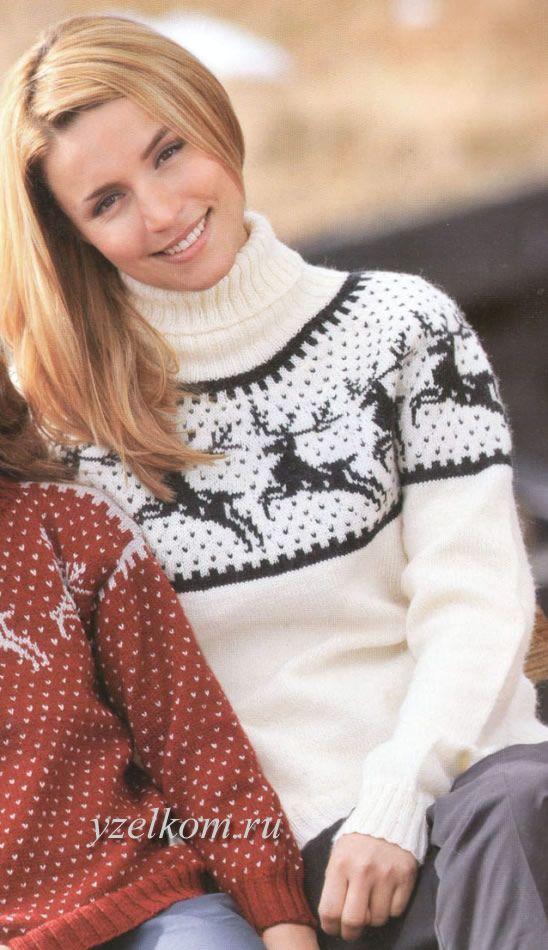 Схема свитера с оленями женский спицами