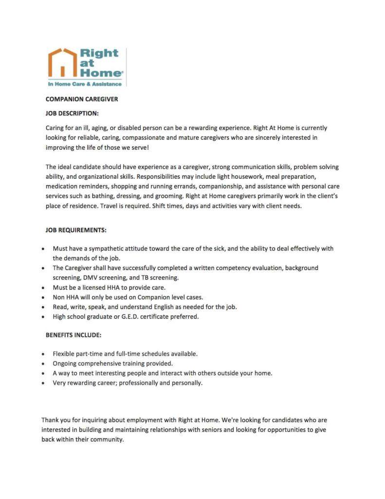 In Home Caregiver Job Description Caregiver jobs, Job
