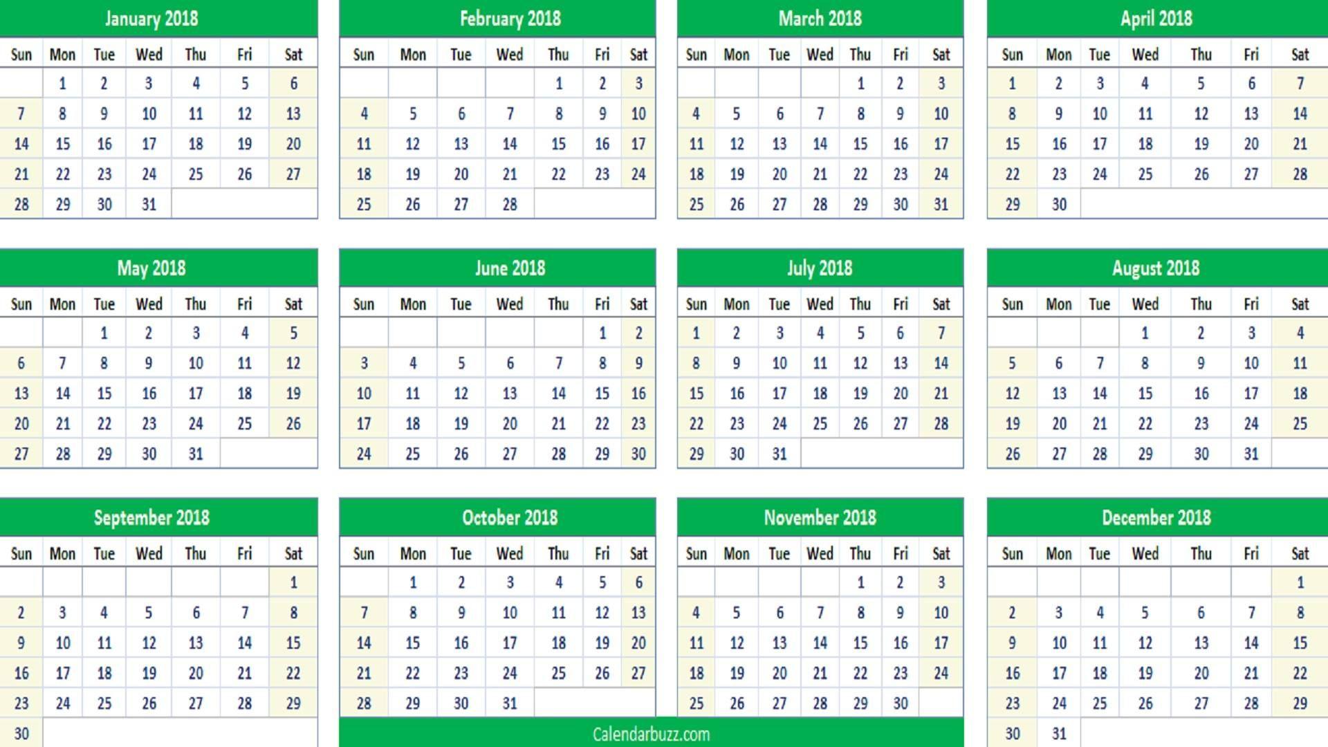 2018 Yearly Calendar Printable Excel 2018 Calendars Pinterest
