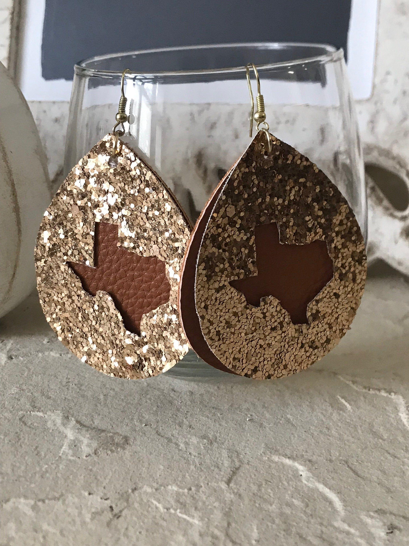 Photo of Texas Cutout Leather Teardop Earrings, Bling Leather Earrings, Texas Earrings, Joanna Gaines Inspired Leather Drop Earrings
