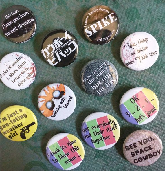 """Cowboy Bebop buttons 1.25"""" / 32mm pinback button/badge"""