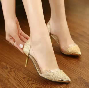 New Women Gold Thin Heels Shoes Metal Small Pointed Toe Wedding Red Bottom For