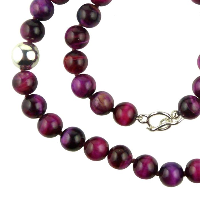 Simon Sebbag Sterling Silver Pink Tigers Eye Beads Toggle Clasp Necklace 24 inches