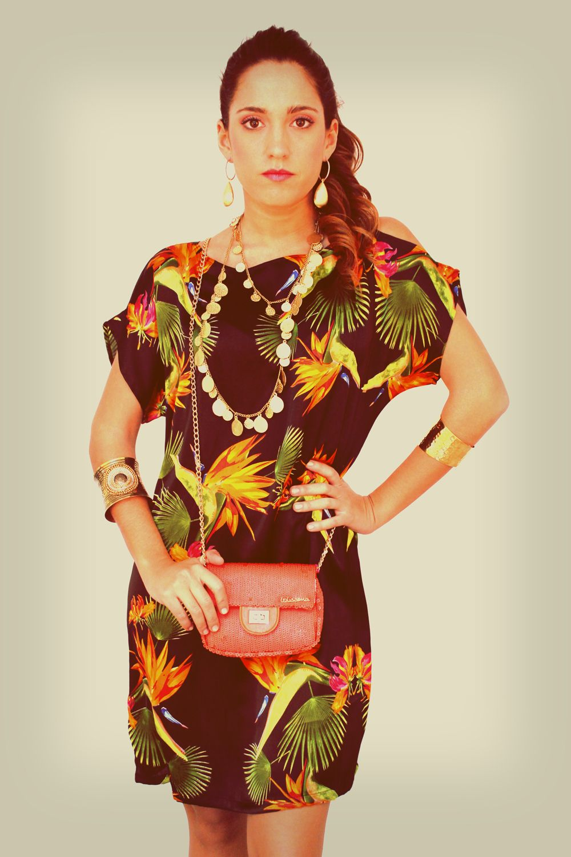 Vestido estampado selva