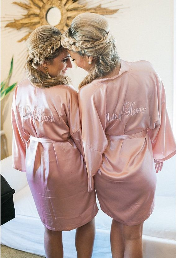Bridesmaid robes Blush wedding robes pink bridesmaid silk robe dressing gown  personalized silk robe 060d35293