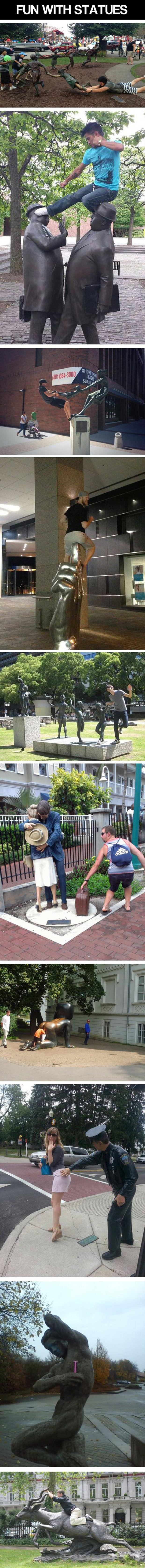 People Got Fun with Statues