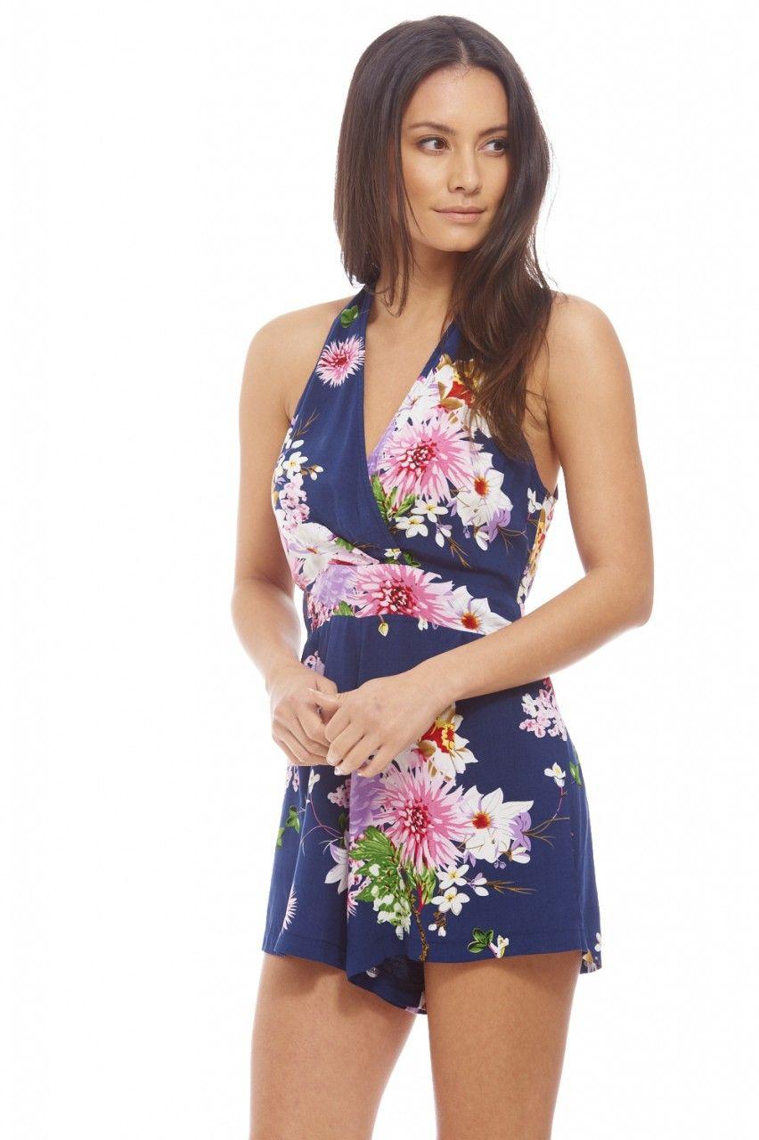 1661b45393 Floral Halter Neck Playsuit - AX Paris