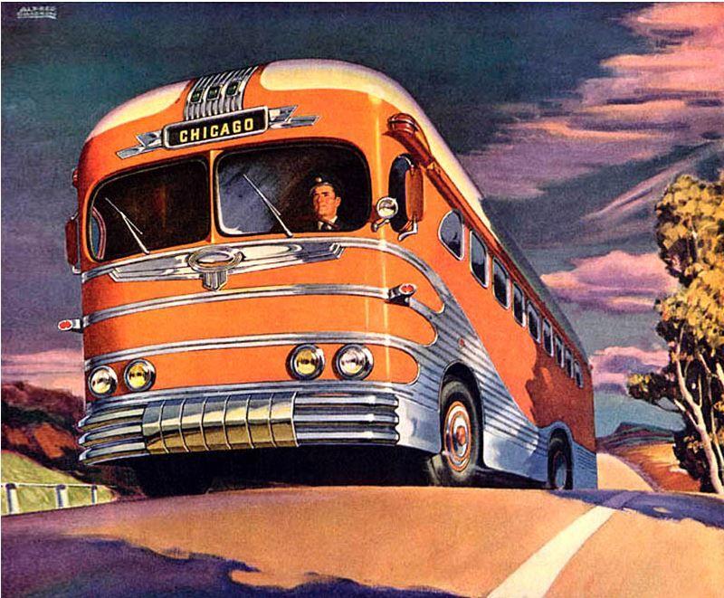 Streamlined Greyhound Coach to Chicago   bus   Retro bus
