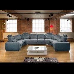 Massive Ultra Modern High Quality U Shape Sofa Corner Group Blue