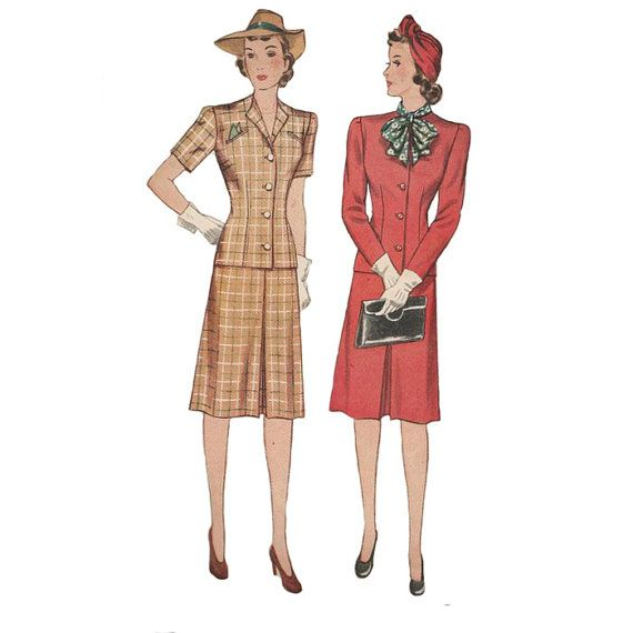 1940s Simplicity Sewing Pattern 4340  Bust 34 Skirt  Redcurlzs