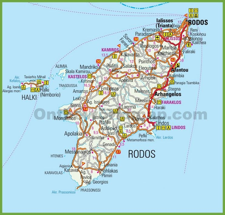 Rhodes tourist map Maps Pinterest Tourist map Rhodes and