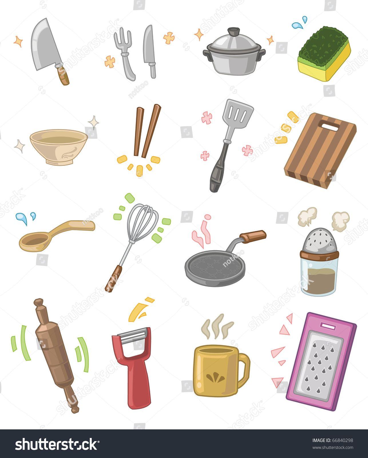 Cartoon Kitchen Utensils คร ว สต กเกอร ของใช ในคร ว