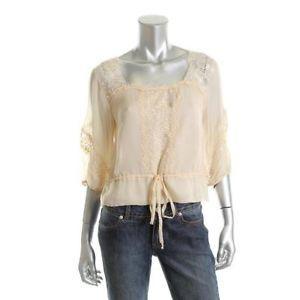 Nanette Lepore lace blouse | ... about Nanette Lepore Perfect Escape Beige Silk Lace Trim Blouse 6 BHFO