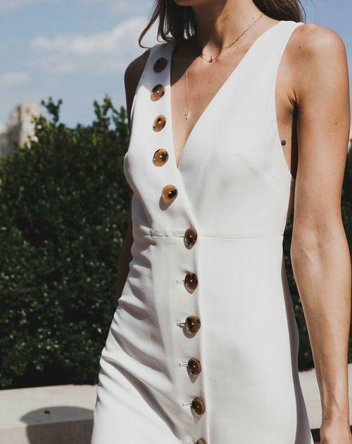Khaite button-front white dress