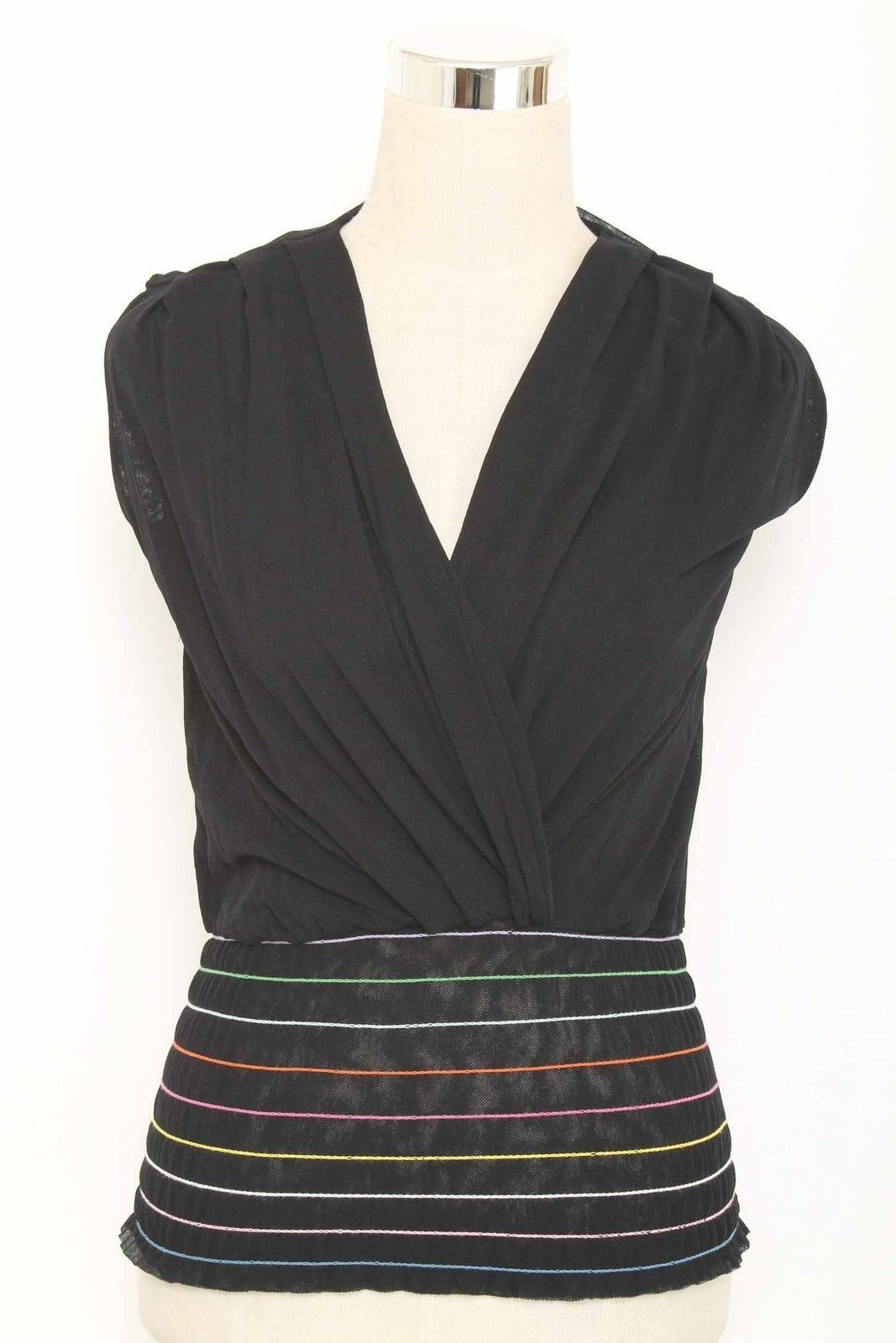 Sweet Pea Black Sleeveless Mesh Knit Top Size S 2143 ST1215