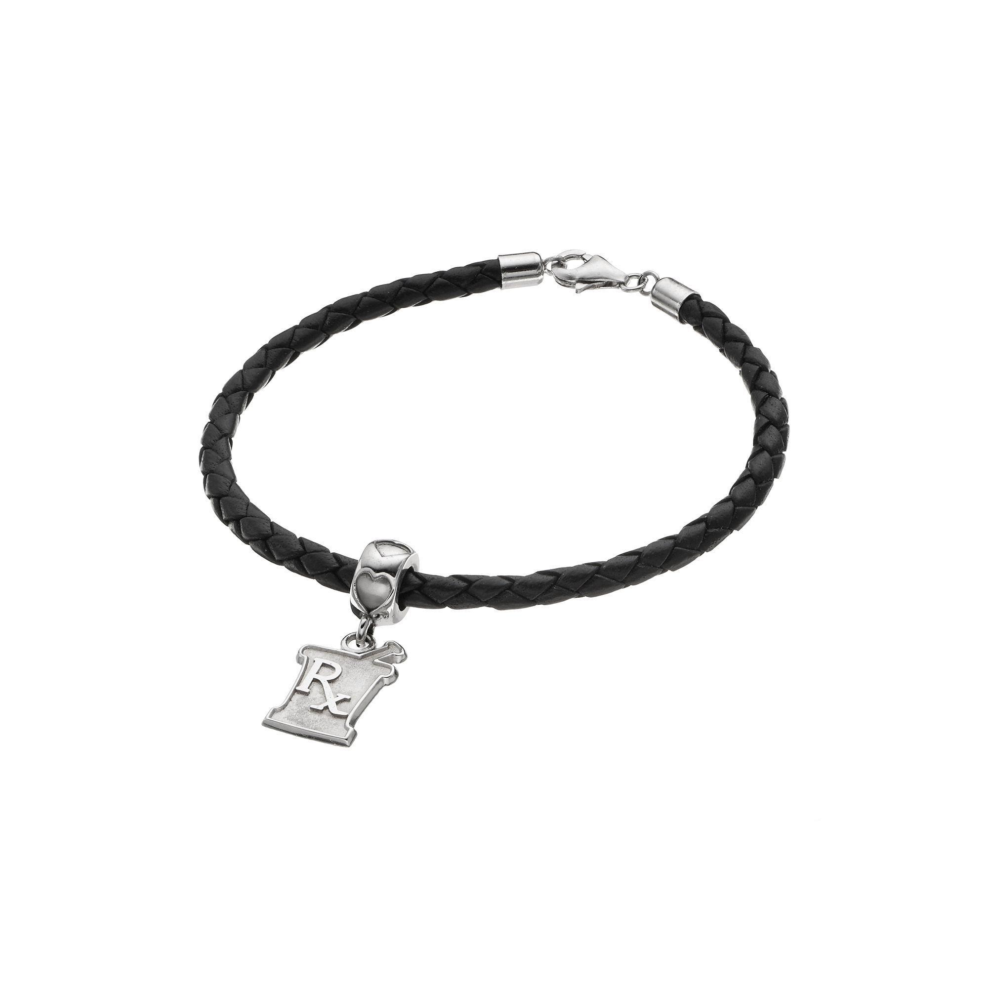 "LogoArt Sterling Silver & Leather ""Rx"" Mortar & Pestle Pharmacist Charm Bracelet, Women's, Size: 7.5"", Grey"
