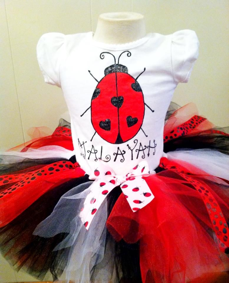 Lady Bug Tutu and Shirt www.sweetidesigns.com