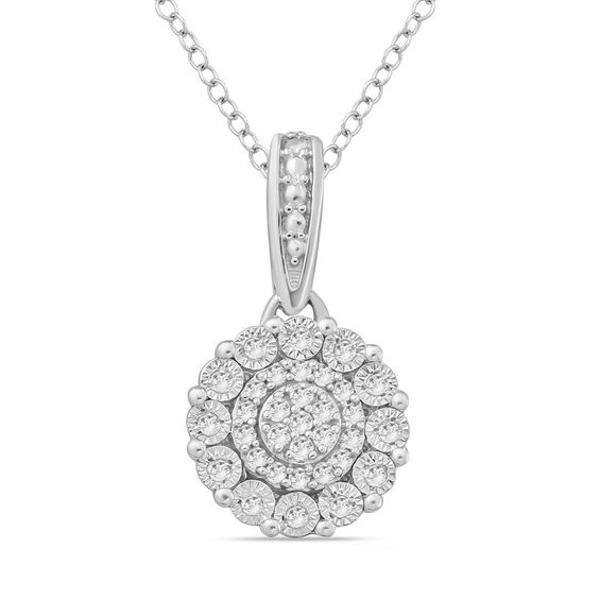 1 10 Ct T W Composite Diamond Pendant In Sterling Silver Zales Unique Diamond Pendant Diamond Pendant Silver Diamond Necklace