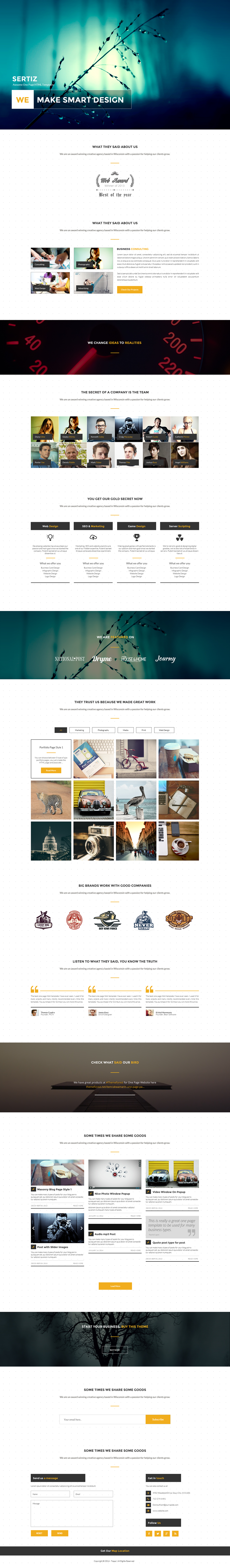 Sertin – Free Bootstrap HTML/CSS Template Onepage + PSD | uihive ...