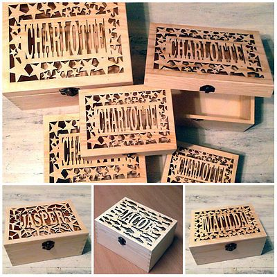 Laser Cut Personalised Name Wooden Keepsake Box Christening Baby Wedding Gift