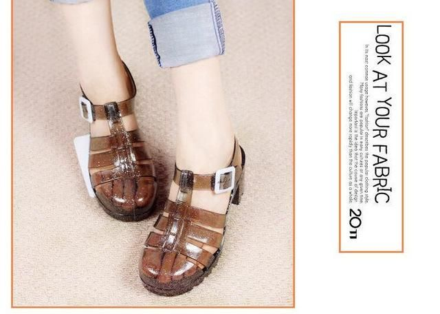 14402f1c91f7 Koovan Women Sandals Summer Retro Crystal Thick Transparent Plastic Sandal  T-Roman Jelly Shoes