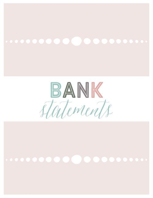 Free Budgeting And Finance Binder Printables  Bank Statement