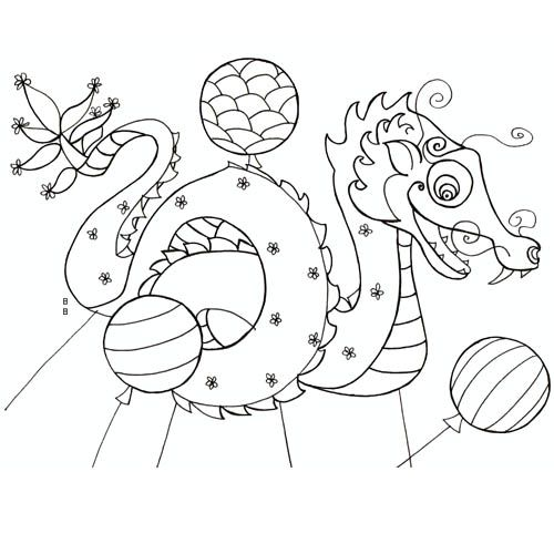 Coloriage cerf volant chinois colorier dessin imprimer pyp chinese new year crafts - Dragon japonais dessin ...