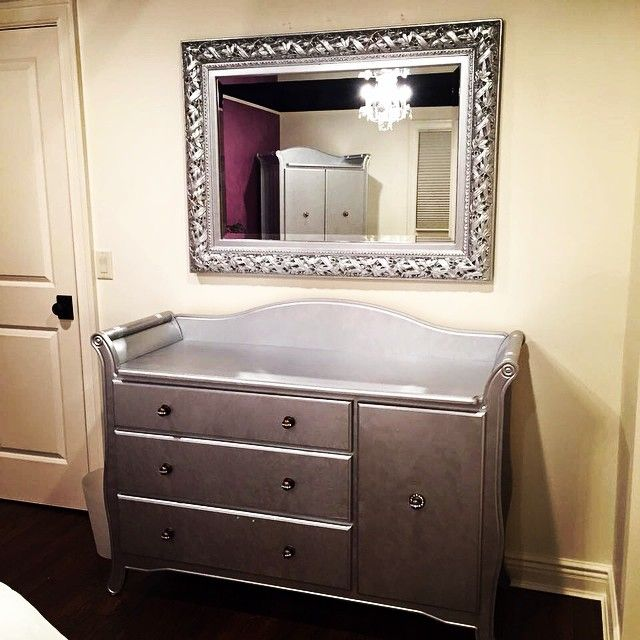 Handpainted Nursery Furniture With Modern Masters Silver Metallic Paint |  Project By Decorative Artist Arlene McLoughlin
