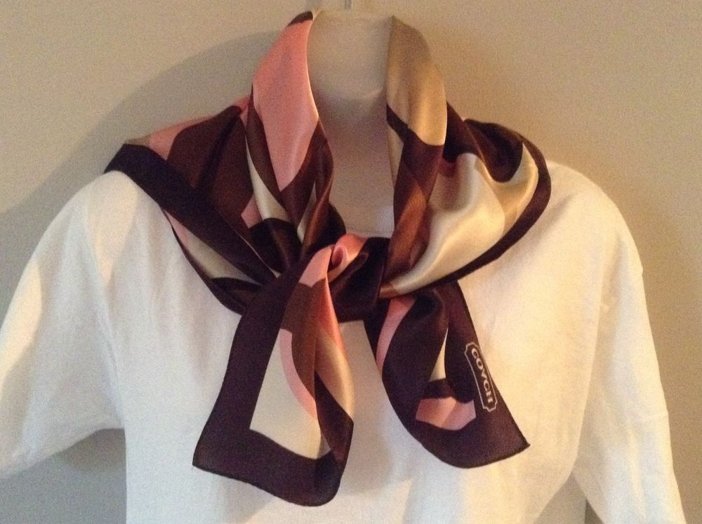 Coach Silk Scarf Brown Pink Beige Ivory 26 Inch Square