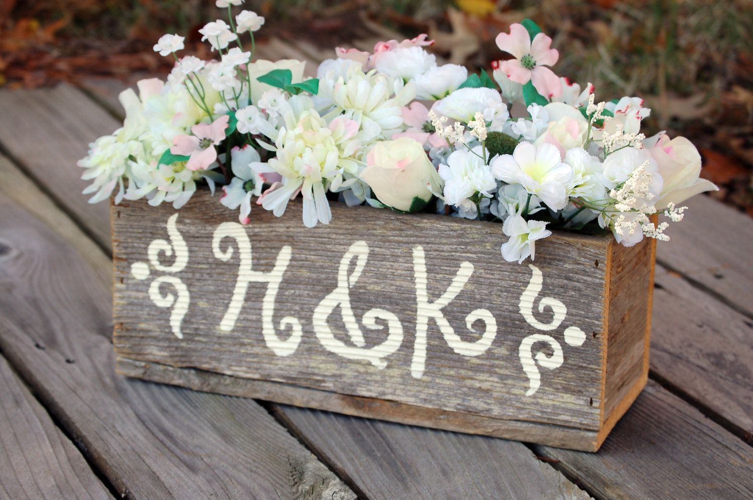 Personalized wood centerpiece flower vase flower box table personalized wood centerpiece flower vase flower box table decorations reception decor rusitc chic wedding rustic table junglespirit Images