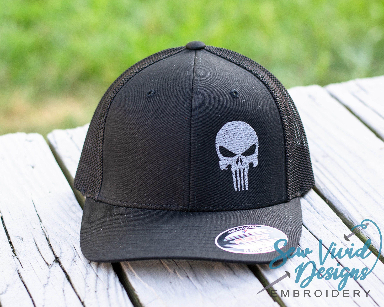 Punisher Skull Hat Flexfit Hat Fitted Hat Patriotic Etsy Skull Hat Punisher Skull Fitted Hats