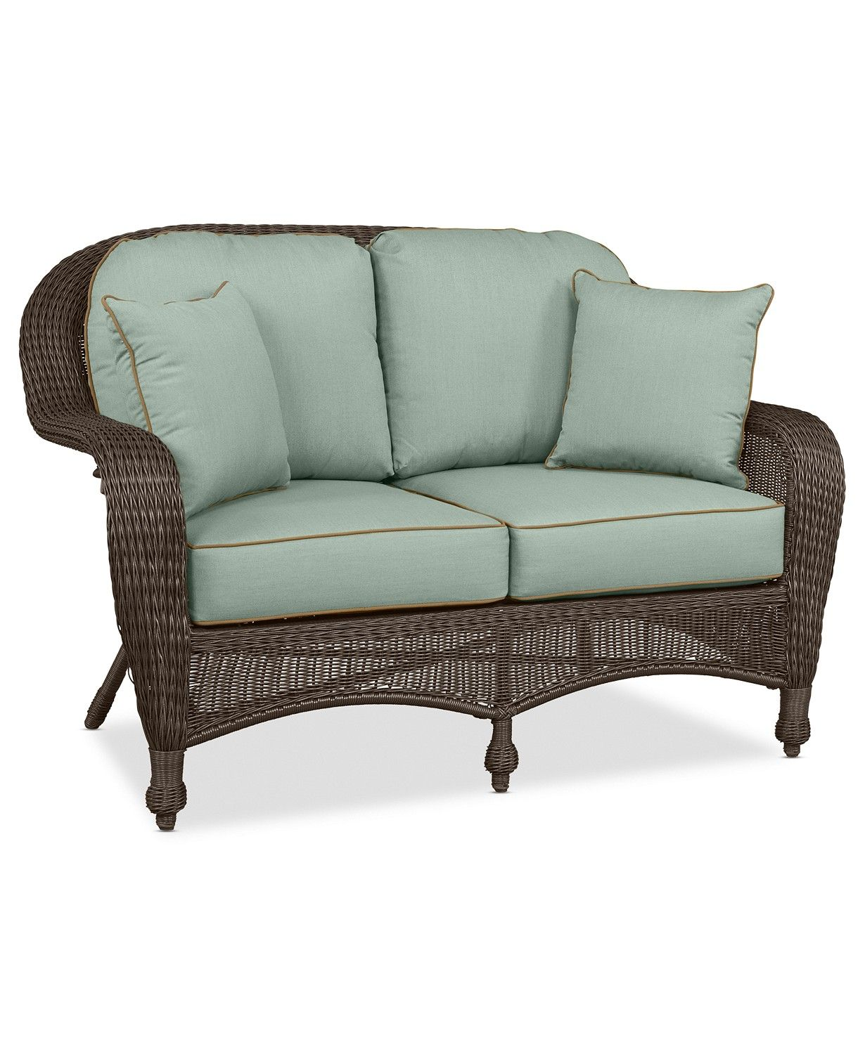wicker patio loveseat on furniture monterey wicker outdoor loveseat with custom sunbrella created for macy s reviews furniture macy s outdoor loveseat love seat furniture pinterest