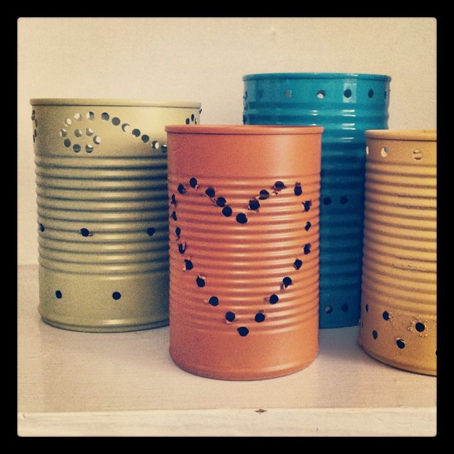 """Tin can lanterns. Handmade decor for our """"tin"""" (10) year anniversary party!"""
