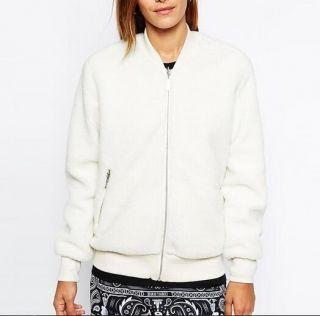 plain white bomber jacket for women warm fleece baseball jacket ...