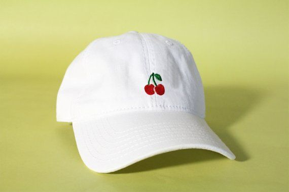 9e11393a7 NEW Cherry Baseball Hat Dad Hat Low Profile White Pink Black ...