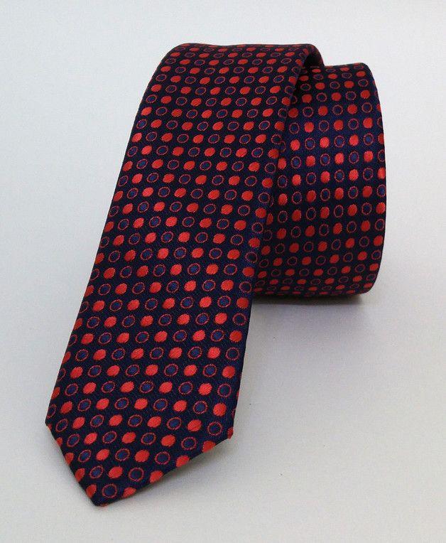 Dotted Dark Blue and Red Mens Tie 4 cm (1,57 #handmadeatamazon #nazodesign