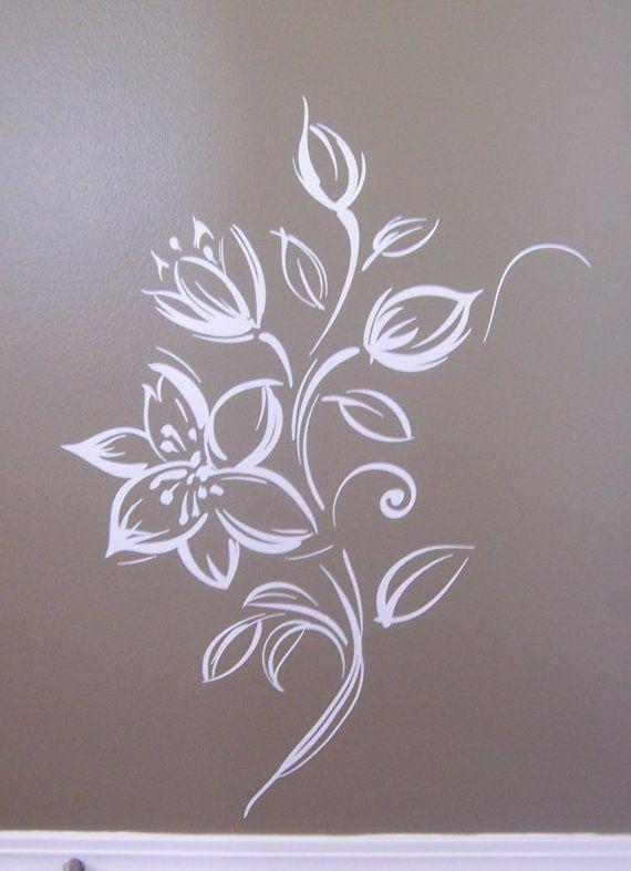 Flower Vinyl wall art wall mural painted effect ...